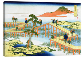 Lienzo  Eight part bridge, province of Mucawa - Katsushika Hokusai