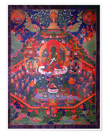 Póster  Thangka depicting Green Tara - Tibetan School