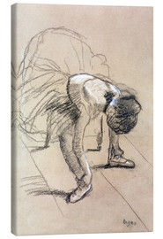 Lienzo  Seated Dancer Adjusting her Shoes - Edgar Degas