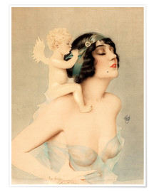 Póster  Girl with angel - Alberto Vargas