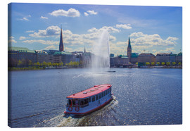 Lienzo  Alsterdampfer on the Inner Alster Hamburg - Dennis Stracke