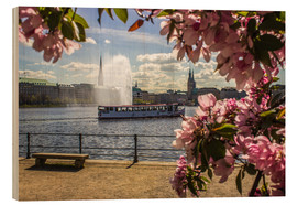 Cuadro de madera  Cherry on the Alster in Hamburg for Spring - Dennis Stracke