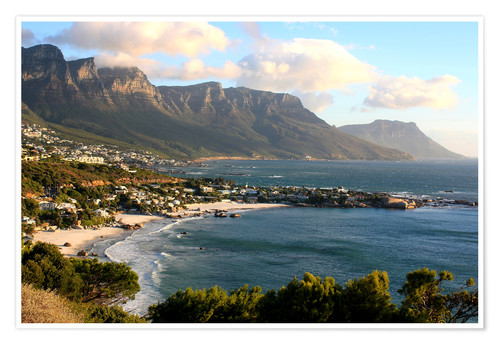 Póster South Africa Cape Town with beach landscape