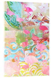 Cuadro de metacrilato  Flamingo Collage - GreenNest