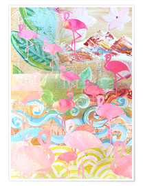 Póster  Flamingo Collage - GreenNest