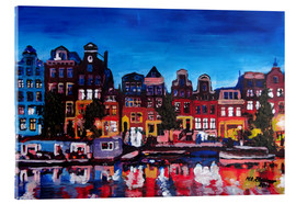 Cuadro de metacrilato  Amsterdam Channel at Night - M. Bleichner