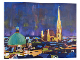 Cuadro de PVC  Vienna Skyline at Night with St Stephan - M. Bleichner