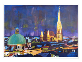 Póster Vienna Skyline at Night with St Stephan