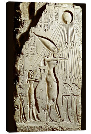 Lienzo  Pharaoh Akhenaten pays homage to the sun god Aten