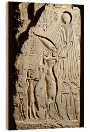 Cuadro de madera  Pharaoh Akhenaten pays homage to the sun god Aten