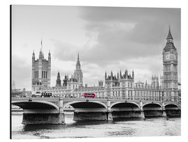 Cuadro de aluminio  Westminster bridge with look at Big Ben and House of parliament - Edith Albuschat