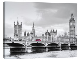 Lienzo  Westminster bridge with look at Big Ben and House of parliament - Edith Albuschat