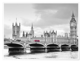 Póster  Westminster bridge with look at Big Ben and House of parliament - Edith Albuschat