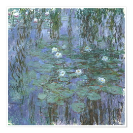 Póster  Blue Water Lilies - Claude Monet