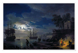 Póster  Night: Port in the moonlight - Claude Joseph Vernet
