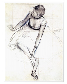 Póster  Dancer adjusting her shoe - Edgar Degas