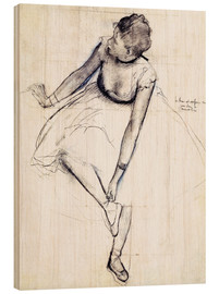 Madera  Dancer adjusting her shoe - Edgar Degas
