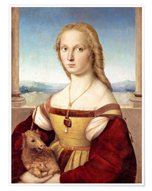 Póster Woman with an unicorn