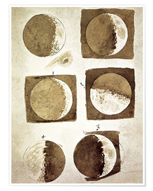 Póster  The phases of the moon - Galileo Galilei