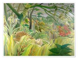 Póster  Tiger in a tropical storm - Henri Rousseau