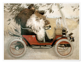 Póster  Casas and Romeu in an automobile - Ramon Casas i Carbo