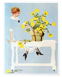 Póster  Housekeeper with bouquet - Clarence Coles Phillips