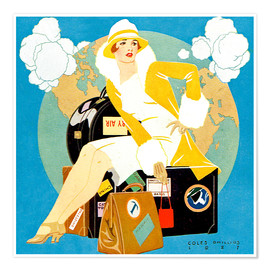 Póster  traveling Lady - Life magazine 1927 - Clarence Coles Phillips
