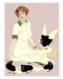 Póster  Woman with Pigeons - Clarence Coles Phillips
