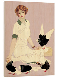 Cuadro de madera  Woman with Pigeons - Clarence Coles Phillips