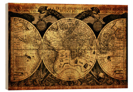 Cuadro de madera  World 1630 - Michaels Antike Weltkarten