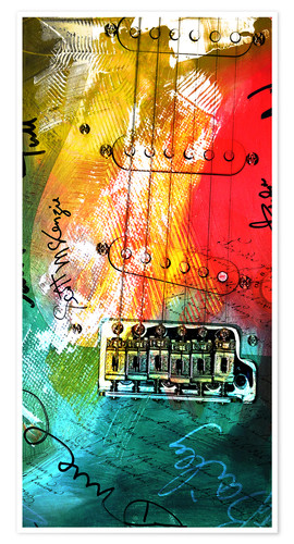 Póster Guitarra colorida collage