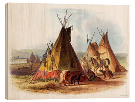 Cuadro de madera  Camp of Native Americans
