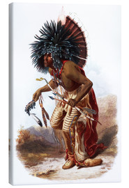 Lienzo  Indians with blue feathered headdress - Karl Bodmer