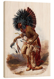 Madera  Indians with blue feathered headdress - Karl Bodmer