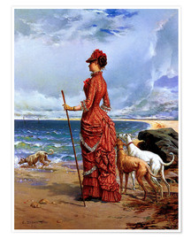 Póster  Elegant Lady Walking Her Greyhounds on the Beach - Edmond-Louis Dupain