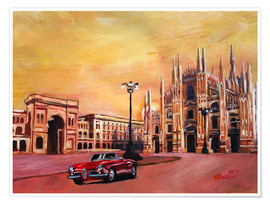 Póster  Milan Cathedral with Oldtimer Convertible Alfa Romeo - M. Bleichner