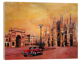 Cuadro de madera  Milan Cathedral with Oldtimer Convertible Alfa Romeo - M. Bleichner