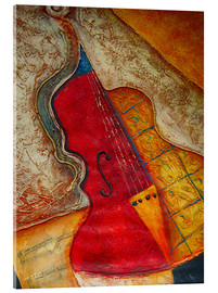 Cuadro de metacrilato  Violin violin music abstract painting orange structure - Michael artefacti