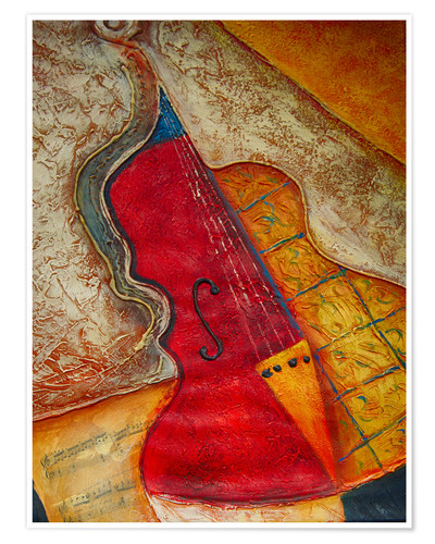 Póster Violin violin music abstract painting orange structure