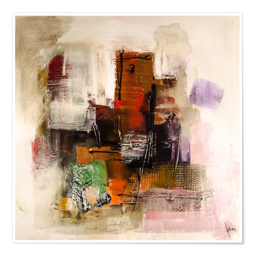 Póster Abstract painting on canvas - modern and contemporary