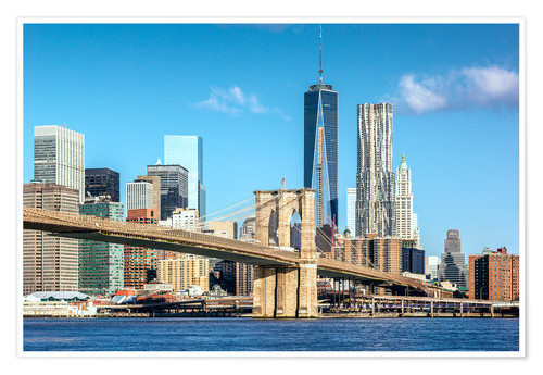Póster New York: Brooklyn Bridge and World Trade Center