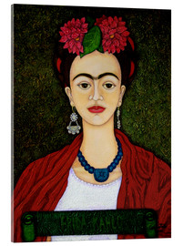 Metacrilato  Frida Kahlo portrait with dalias - Madalena Lobao-Tello