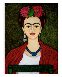 Póster  Frida Kahlo portrait with dalias - Madalena Lobao-Tello