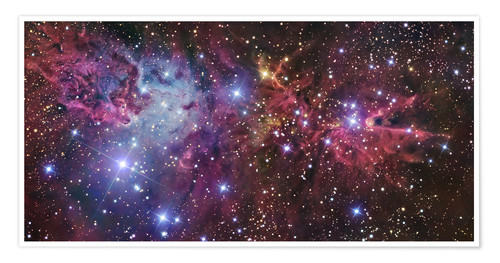 Póster Violett nebula in space