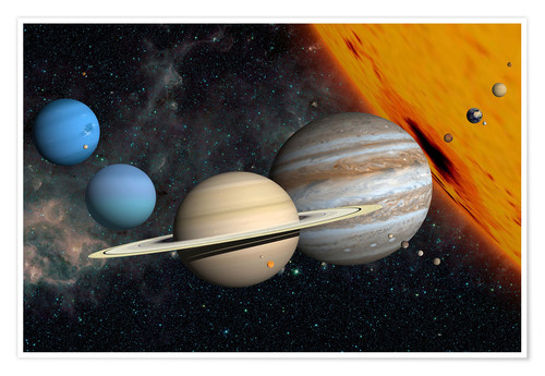 Póster Planets and moons