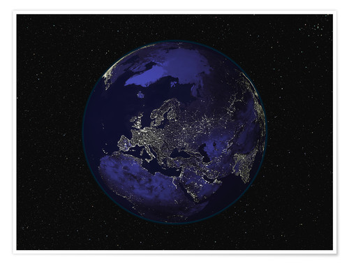 Póster Earth at night - Europe
