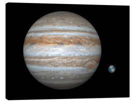 Lienzo  gas giant Jupiter and Earth - Walter Myers