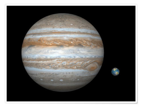 Póster gas giant Jupiter and Earth