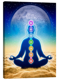 Lienzo  In Meditation With Chakras - Blue Moon Edition - Dirk Czarnota