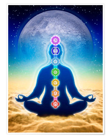 Póster  In Meditation With Chakras - Blue Moon Edition - Dirk Czarnota